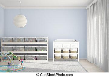 crianças, sala, com, brinquedos, azul