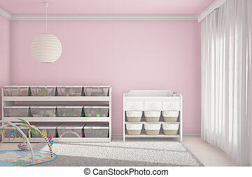 crianças, sala, com, brinquedos, cor-de-rosa