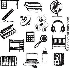 crianças, sala, doodle, imagens
