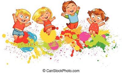 crianças, saltar alegria