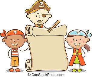 crianças, scroll, pirata