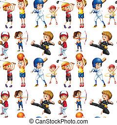 crianças, seamless, esportes