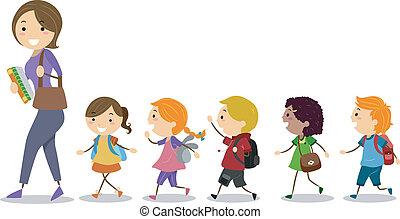 crianças, seguindo, seu, professor