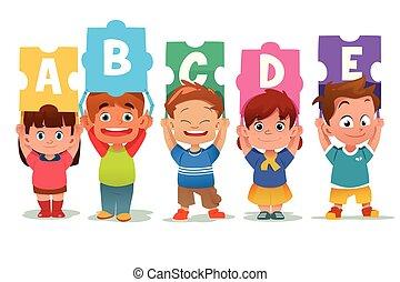 crianças, segurando, alfabeto, quebra-cabeça, cartões