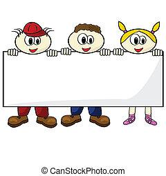 crianças, segurando, cartão, em branco