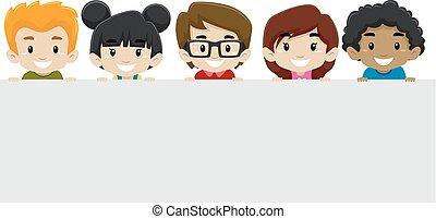 crianças, segurando, em branco, signage