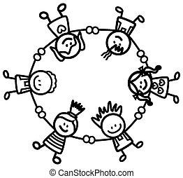 crianças, segurando mão