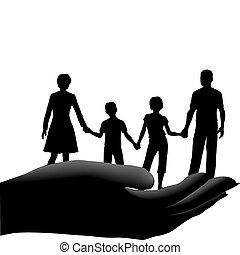 crianças, seguro, família, cofre, pai, mão, mãe