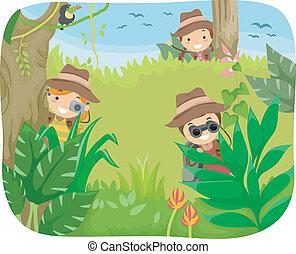 crianças, selva, aventura