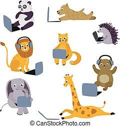 crianças, sentando, laptop, vetorial, animal, caricatura