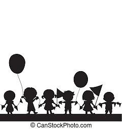 crianças, silhuetas, fundo