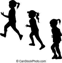 crianças, silhuetas, running.