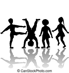 crianças, silhuetas, tocando