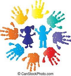 crianças, silueta, com, cor, mãos