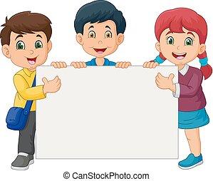 crianças, sinal, segurando, em branco, caricatura, feliz
