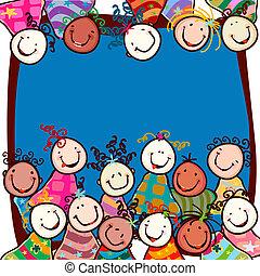 crianças, sorrindo