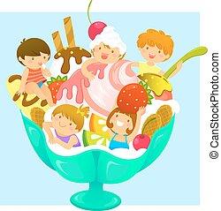 crianças, sorvete