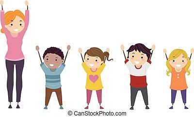 crianças, stickman, braços, ilustração, professor, cima