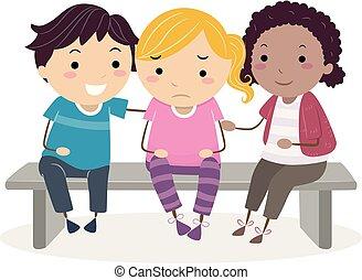 crianças, stickman, chorando, cima, ilustração, alegria