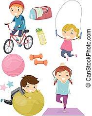 crianças,  stickman, condicão física