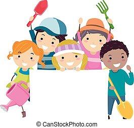 crianças, stickman, cultive ferramentas, ilustração, bandeira