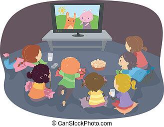 crianças, stickman, desenhos animados, observar