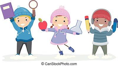 crianças, stickman, educação, ilustração, inverno