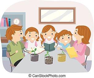 crianças, stickman, família, solo, ilustração, teste