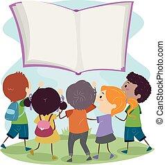 crianças, stickman, flutuador, alcance, livro, saída