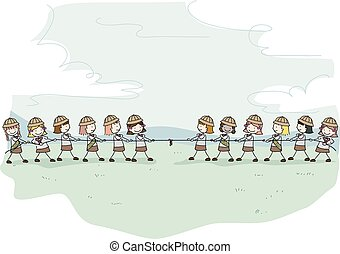 crianças, stickman, ilustração, escoteiros, menina, guerra, puxão
