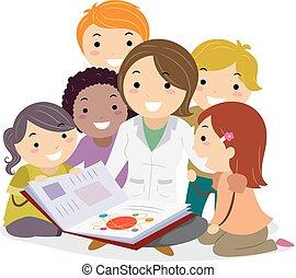 crianças, stickman, ilustração, livro, física, professor