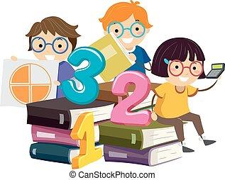 crianças, stickman, ilustração, livro, pilha, matemática