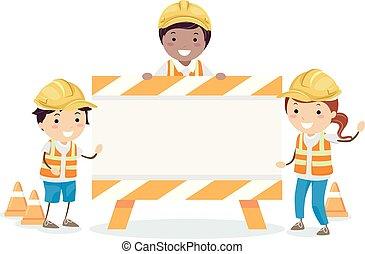crianças, stickman, ilustração, sinal, construção, tábua
