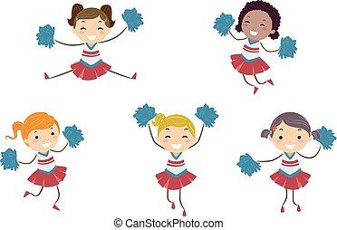 crianças, stickman, líderes, meninas, ilustração, alegria