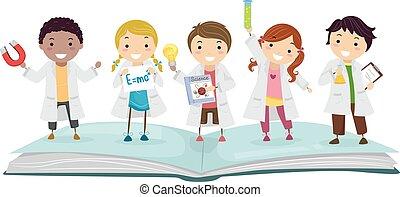 crianças, stickman, laboratório, livro, ilustração, física