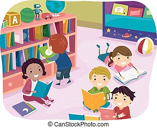 crianças, stickman, leitura, pré-escolar, tempo