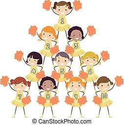 crianças, stickman, meninas, alegrando, esquadra, números
