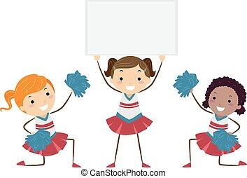 crianças, stickman, meninas, ilustração, alegrando, tábua