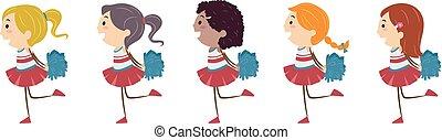 crianças, stickman, meninas, ilustração, alegria, pompoms, corrida