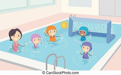 crianças, stickman, meninas, ilustração, polo água