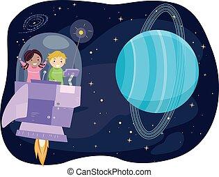 crianças, stickman, nave espacial, urano