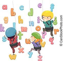 crianças, stickman, parede, alfabeto, ilustração, escalando