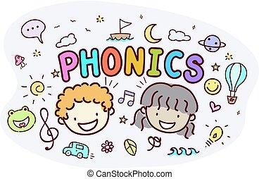 crianças, stickman, phonics