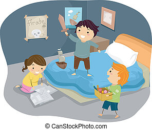crianças, stickman, piratas, ilustração, quarto, tocando