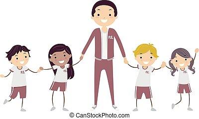 crianças, stickman, professor, ilustração, uniforme