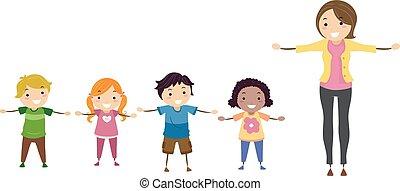 crianças, stickman, sideward, braços, ilustração, professor