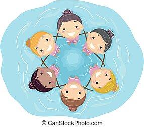 crianças, stickman, sincronizado, meninas, equipe, natação