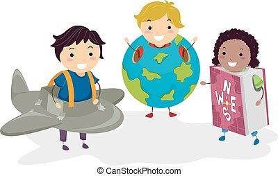 crianças, stickman, trajes, geografia ilustração