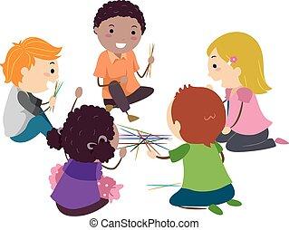 crianças, stickman, varas, cima, jogos, pico
