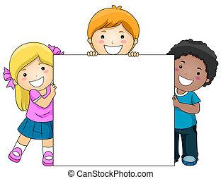 crianças, tábua, em branco
